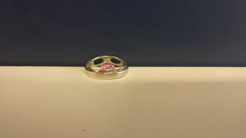 Pink Stone Gold-Diamond & Stone Pendant 5 Diamonds .05 Carat T.W.