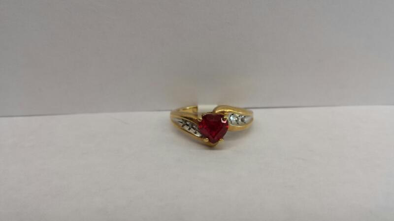 10k Yellow Gold RIng with 1 Ruby Heart and 6 Diamond Chips