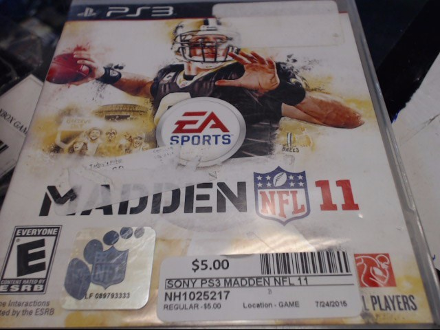SONY PS3 MADDEN NFL 11