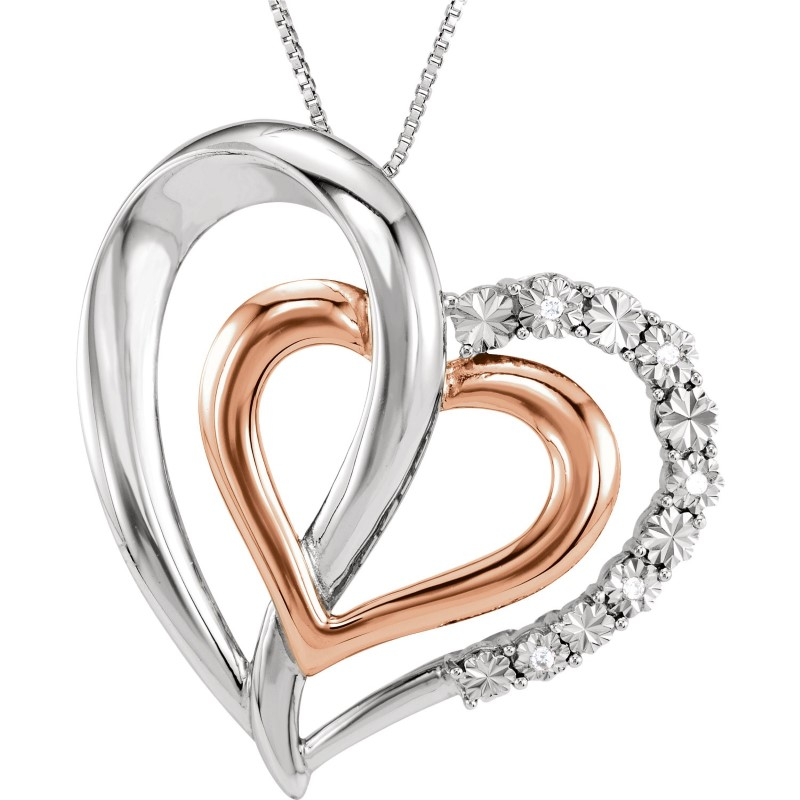 New sterling Silver double heart and rose gold Fashion Chain 925 Silver 5.65g