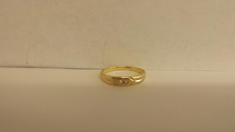 Lady's Diamond Wedding Band 2 Diamonds .06 Carat T.W. 14K Yellow Gold 1dwt