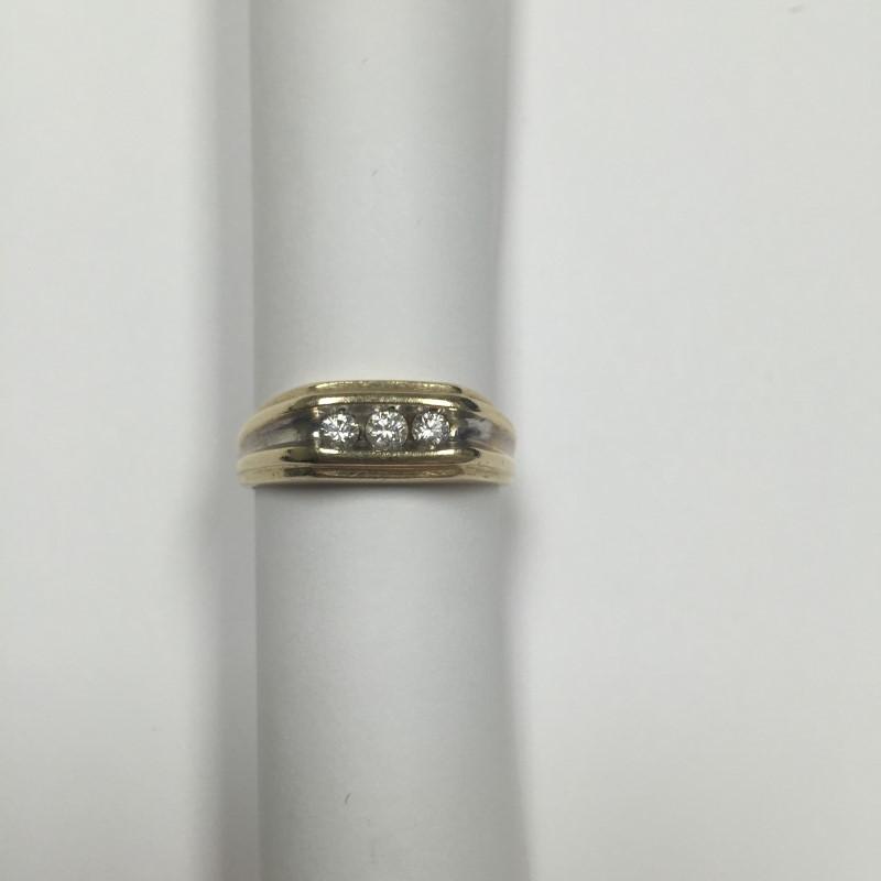 Gent's Diamond Fashion Ring 3 Diamonds .26 Carat T.W. 14K 2 Tone Gold 4.2dwt