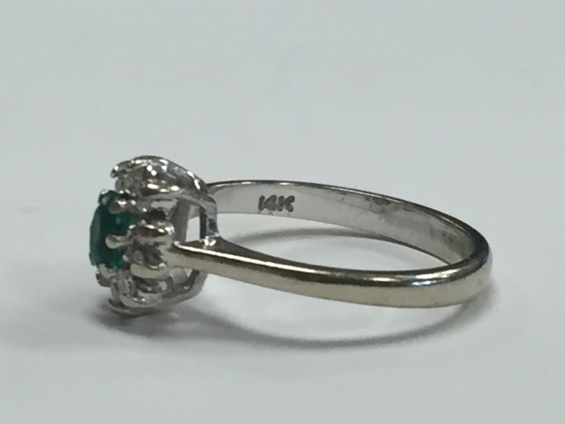 *Diamond and Emerald 14K White Gold Cluster Ring Size 6
