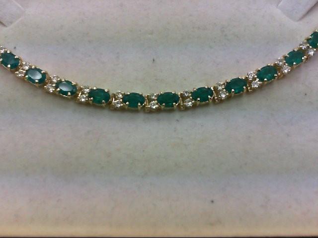 Emerald Gold-Diamond & Stone Bracelet 32 Diamonds 2.00 Carat T.W.
