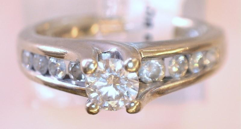 Lady's Diamond Engagement Ring 9 Diamonds .59 Carat T.W. 14K White Gold 3.37dwt