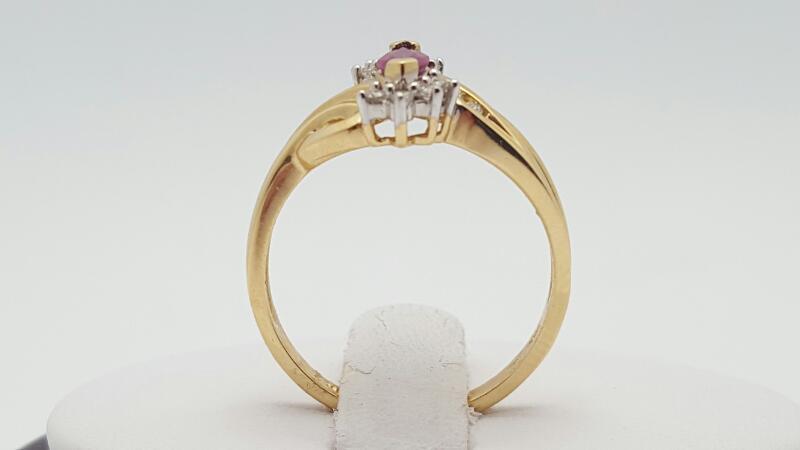 Ruby Lady's Stone & Diamond Ring 12 Diamonds .12 Carat T.W. 14K Yellow Gold 2.9g