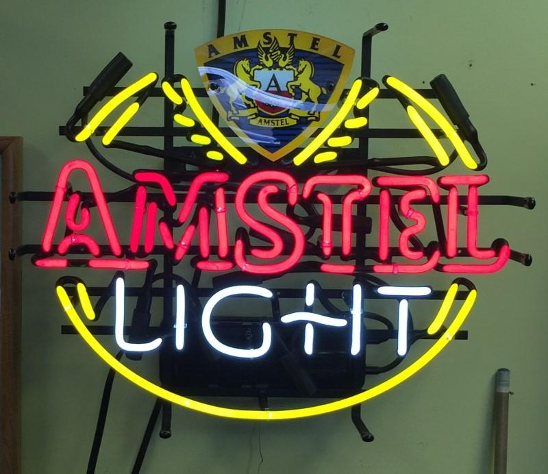 AMSTEL LIGHT BEER NEON LIGHT UP SIGN BAR PUB GAME ROOM MAN CAVE RARE
