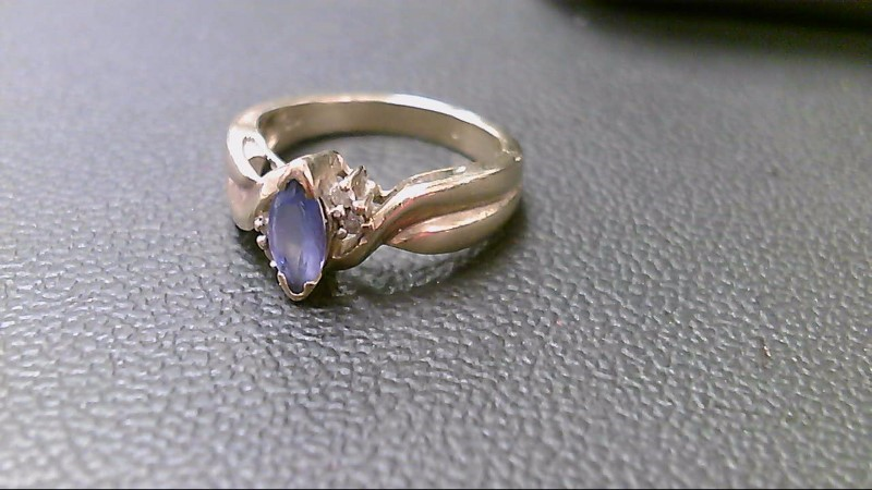 Purple Stone Lady's Stone & Diamond Ring 4 Diamonds .04 Carat T.W.