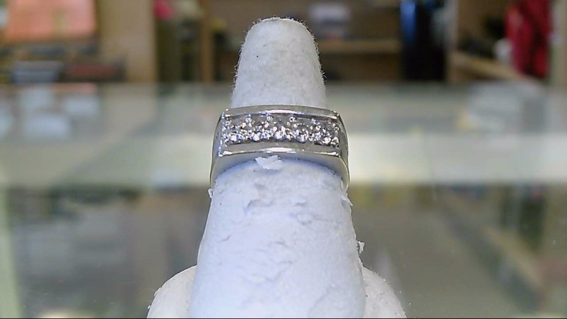Gent's Diamond Fashion Ring 4 Diamonds .04 Carat T.W. 14K White Gold 6.3g