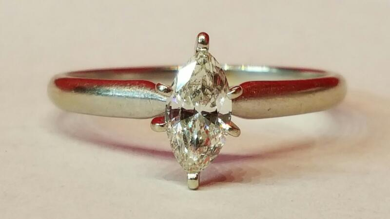 Lady's Diamond Solitaire Ring .52 CT. 14K White Gold 2.3g Size:9