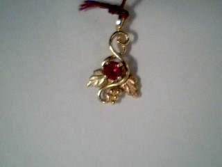 Synthetic Ruby Gold-Stone Pendant 10K Tri-color Gold 1.2g