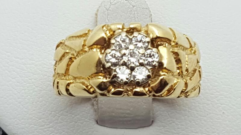 Gent's Gold-Diamond Wedding Band 7 Diamonds .50 Carat T.W. 14K Yellow Gold 7.1g