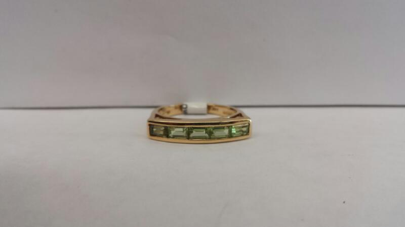 14k Yellow Gold Ring with 5 Green Baguette Stones