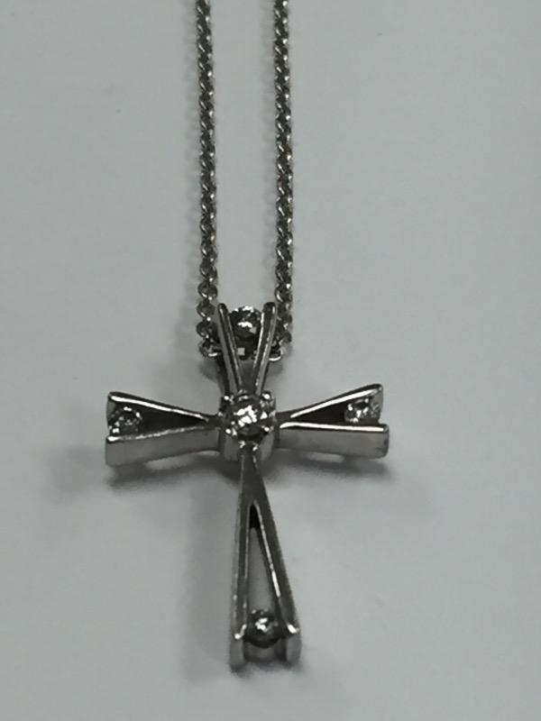"16"" Diamond Necklace 5 Diamonds .07 Carat T.W. 14K White Gold 2.14g"