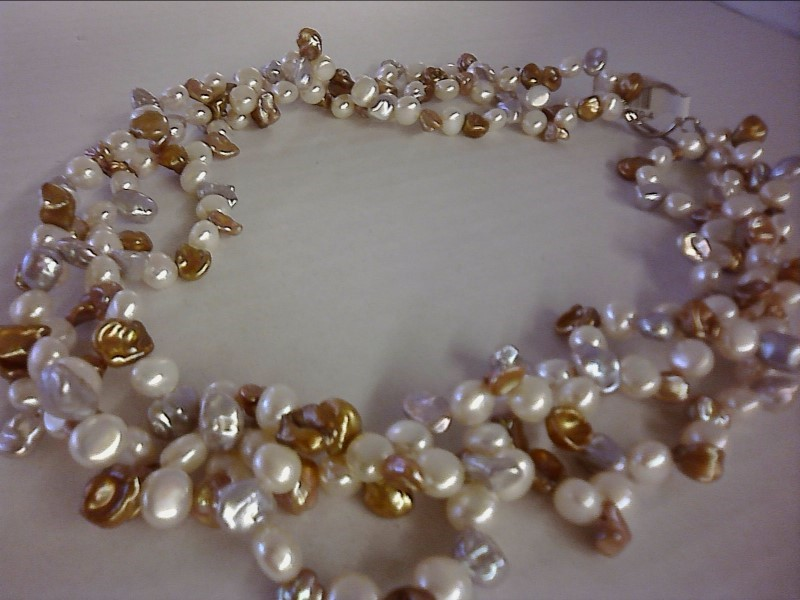 NECKLACE JEWELRY JEWELRY; MULTI STRAND OF FRESH WATER PEARLS NECKLACE STERLING C