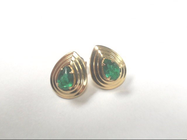 Green Stone Gold-Stone Earrings 10K Yellow Gold 0.8g