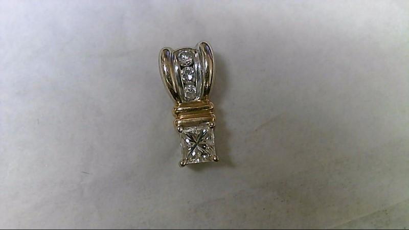Gold-Multi-Diamond Pendant 4 Diamonds .44 Carat T.W. 14K 2 Tone Gold 1.9g