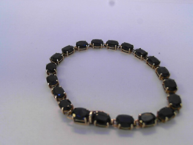Synthetic Sapphire Gold-Stone Bracelet 10K Yellow Gold 5.7dwt