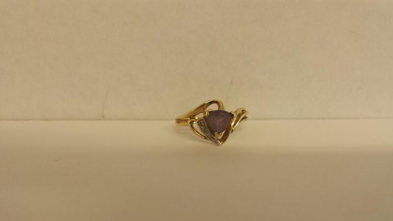Lds 10K-YG Purple Stone Rg Size 7