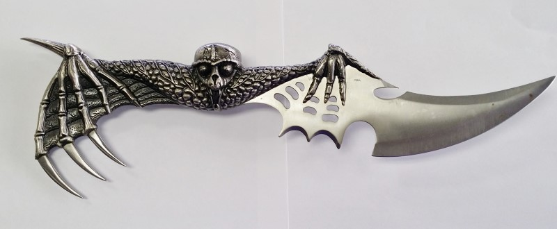 Fixed Blade Fantasy Knife Skull with Wings and Claws