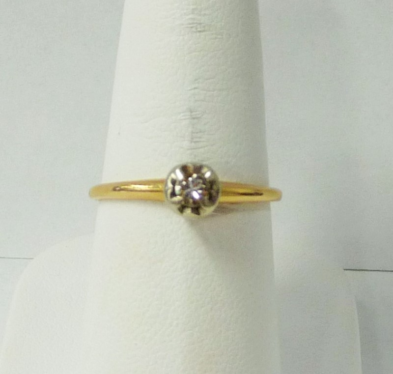 Lady's Diamond Engagement Ring .20 CT. 14K Yellow Gold 3.16dwt
