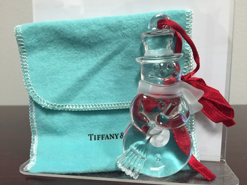 TIFFANY & CO Collectible Plate/Figurine GLASS SNOWMAN ORNAMENT