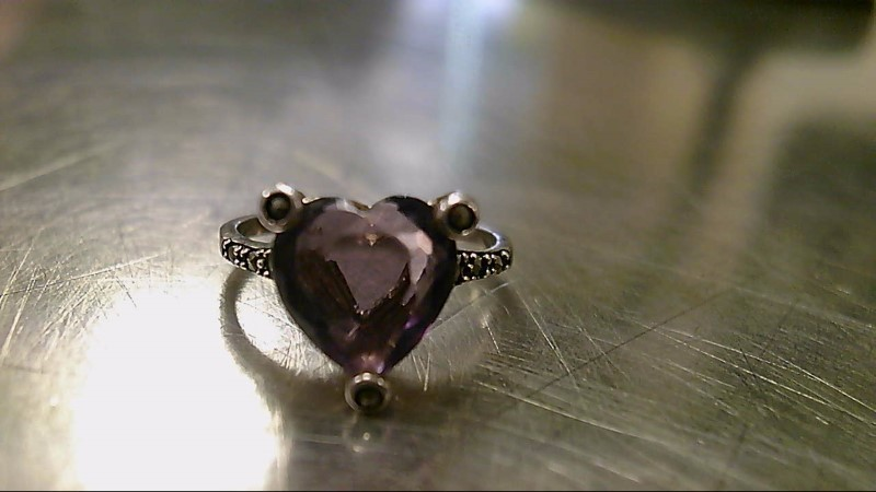 Purple Stone Lady's Silver & Stone Ring 925 Silver 3g