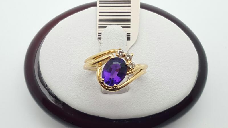 Purple Stone Lady's Stone & Diamond Ring 3 Diamonds .06 Carat T.W.