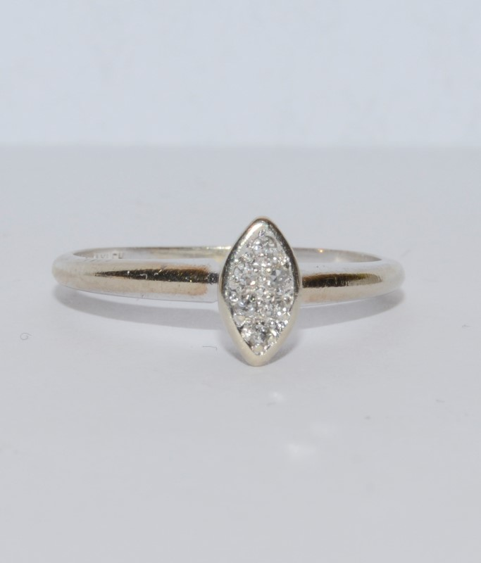 14K White Gold Diamond Cluster (Marquise Shaped) Ring Size: 5.75