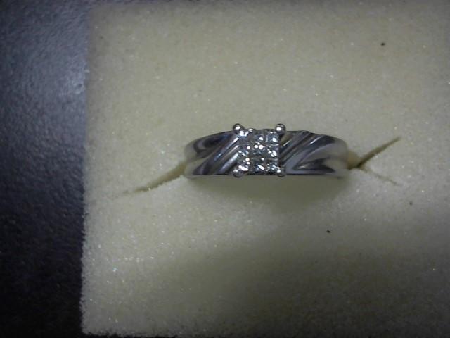 Lady's Diamond Cluster Ring 9 Diamonds .09 Carat T.W. 10K White Gold 2.7g