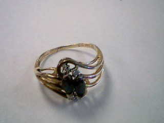 Blue Stone Lady's Stone Ring 14K Yellow Gold 1.9g