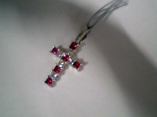 Synthetic Ruby Gold-Diamond & Stone Pendant 11 Diamonds .11 Carat T.W.