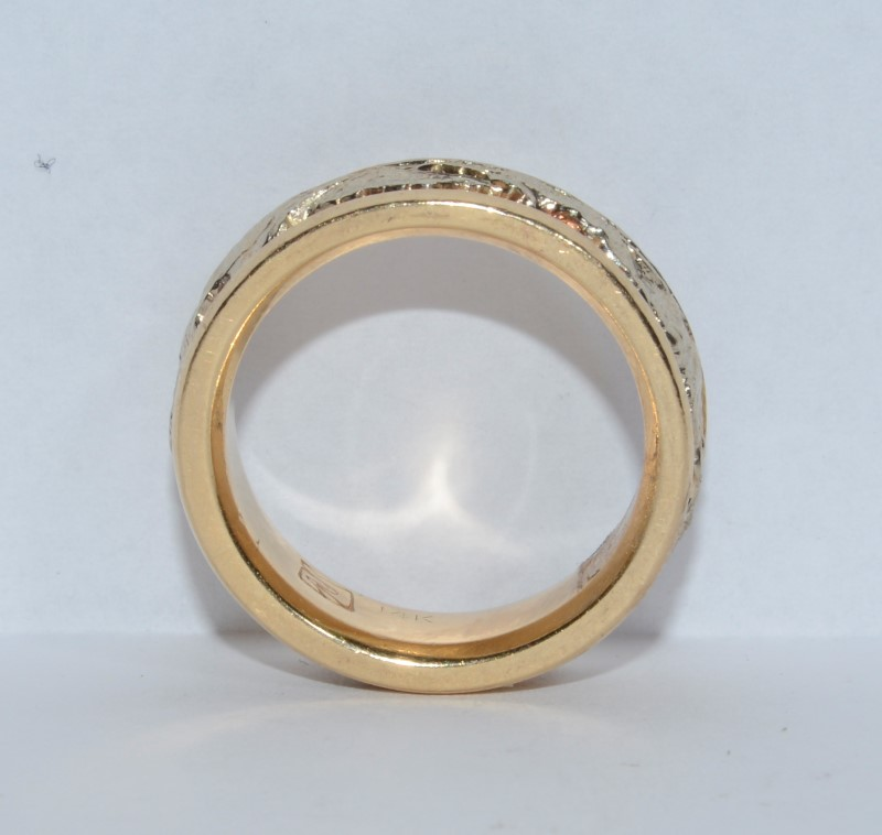 Rugged 14K Two Tone Gold Scenic Moutain Range Band Ring Size 5.75