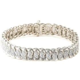Silver-Diamond Bracelet 28 Diamonds .28 Carat T.W. 925 Silver 13.88g