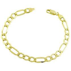 Gold Figaro Bracelet 14K White Gold 1.5dwt