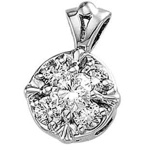 Gold-Multi-Diamond Pendant 7 Diamonds .14 Carat T.W. 14K 2 Tone Gold 0.8dwt
