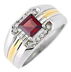 Antique Red Stone Gent's Stone & Diamond Ring .12 CT. 14K Yellow Gold 5.3g