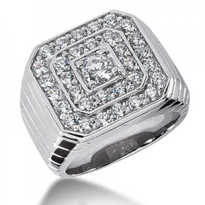 Gent's Diamond Cluster Ring 19 Diamonds .19 Carat T.W. 10K Yellow Gold 8.32g