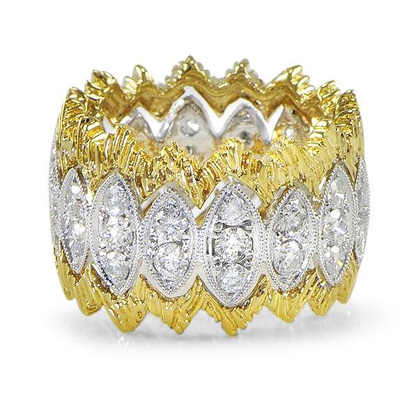 Lady's Diamond Fashion Ring .19 CT. 14K 2 Tone Gold 9.4g Size:7