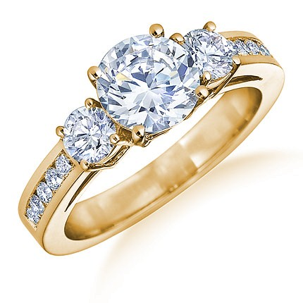 Lady's Diamond Engagement Ring 3 Diamonds .06 Carat T.W. 10K Yellow Gold 2.27g