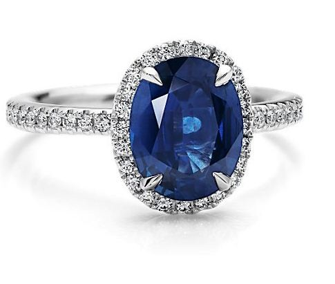 Synthetic Sapphire Lady's Stone & Diamond Ring 2 Diamonds .16 Carat T.W.