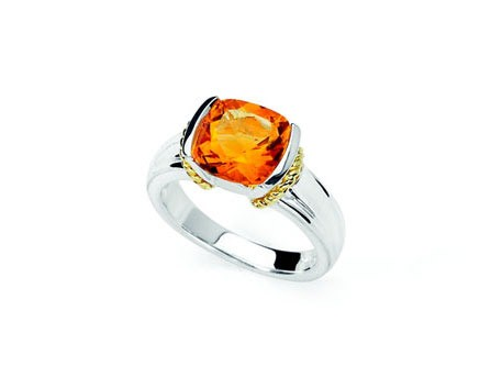 Orange Stone Lady's Silver & Stone Ring 900 Silver 3.43g
