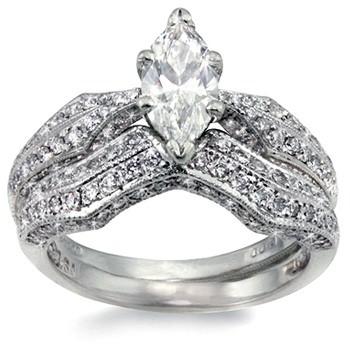 Platinum-Diamond Wedding Set 20 Diamonds 1.60 Carat T.W. 950 Platinum 5.1g