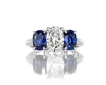Sapphire Lady's Platinum-Diamond & Stone Ring 20 Diamonds .32 Carat T.W.