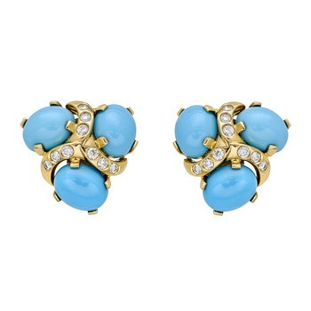 Synthetic Blue Topaz Gold-Diamond & Stone Earrings 2 Diamonds .02 Carat T.W.