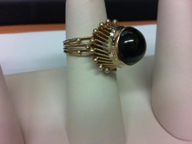 Black Stone Lady's Stone Ring 10K Yellow Gold 7.2g