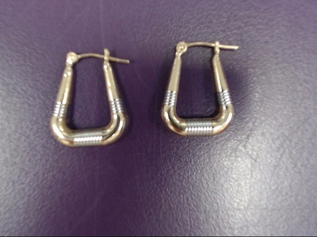 Gold Earrings 14K 2 Tone Gold 1.1g