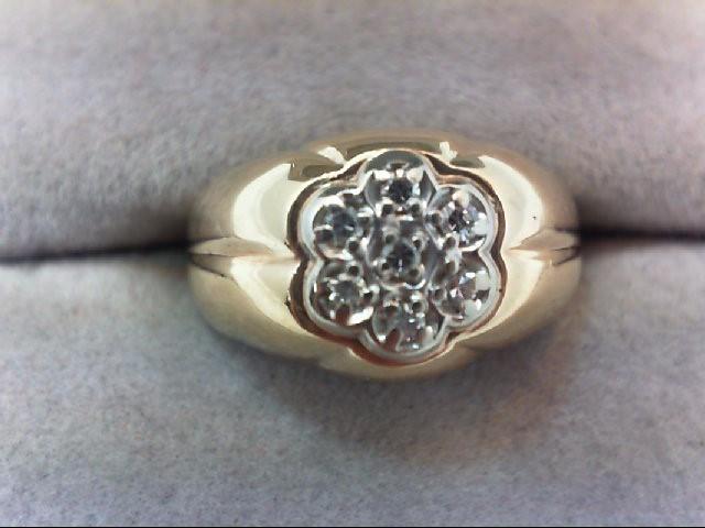 Gent's Diamond Cluster Ring 7 Diamonds .07 Carat T.W. 14K Yellow Gold 3.7g