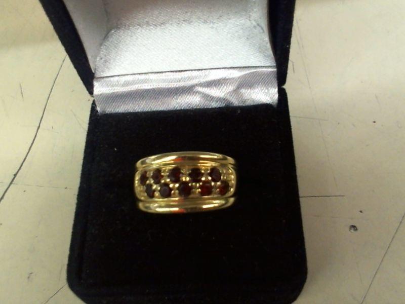Synthetic Almandite Garnet Lady's Stone Ring 14K Yellow Gold 4.1g