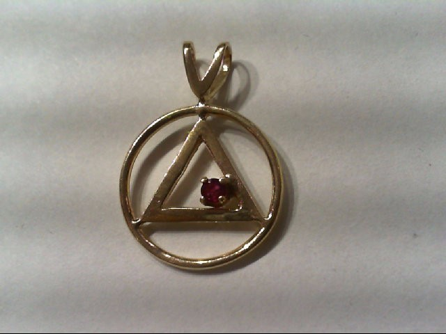 Ruby Gold-Stone Pendant 14K Yellow Gold 1.4g